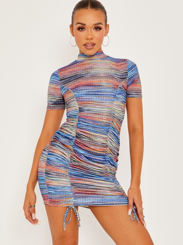 Multi Coloured Ribbed Ruched Dress