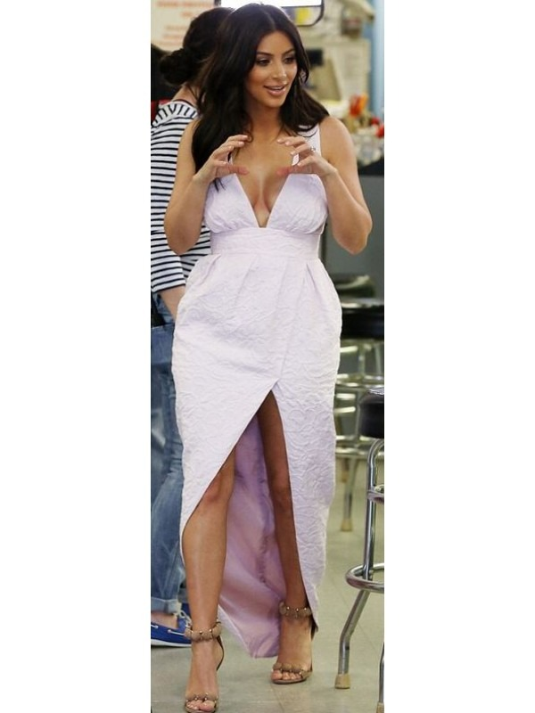 Celeb Embossed Slit Maxi Dress