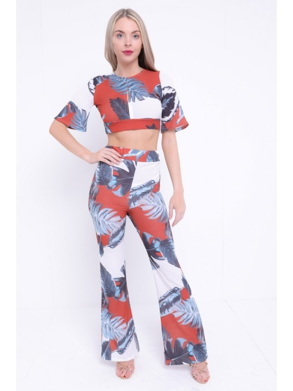 Tropical Print Crop Top And Trouser Co-ord