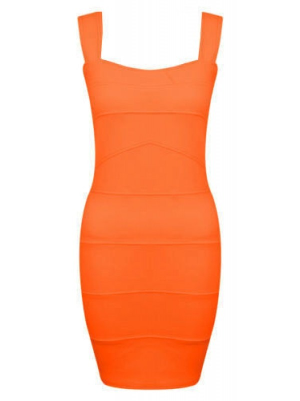 Neon Colour Rib Bandage Bodycon Dress