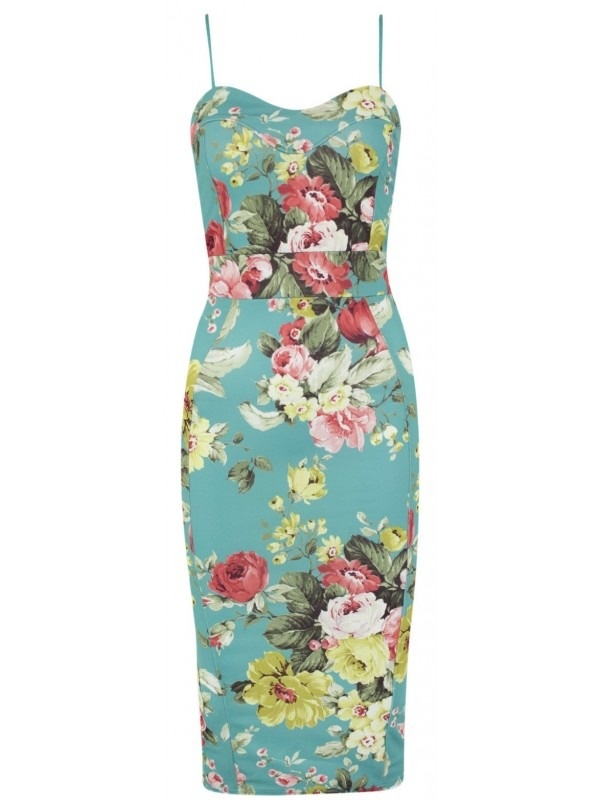 Multi Floral Print Cami Panelled Midi Dress