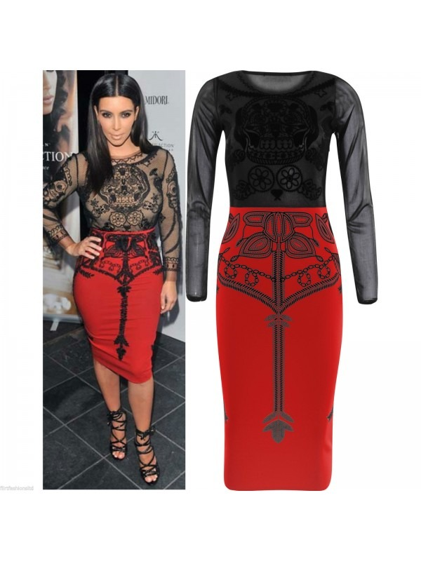 Celebrity Inspired Mesh Insert Velvet Midi Dress
