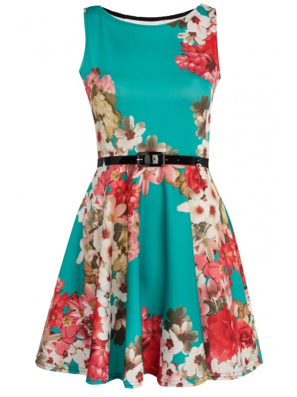 Multi Floral Print Belted Skater Dress