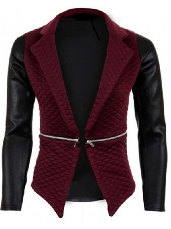 PU Back & Sleeves Quilted Blazer
