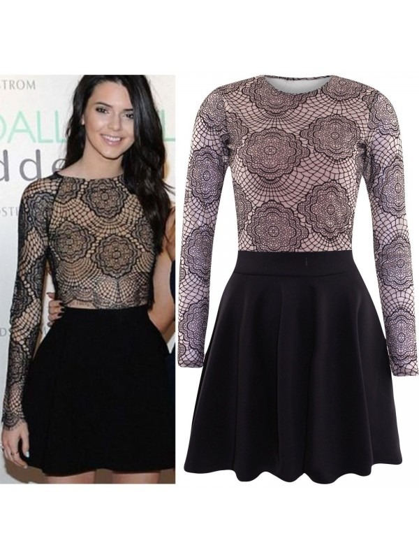 Celebrity Style Mesh Top Skater Dress