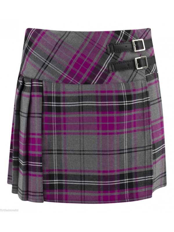 Pleated Check Print Skirt
