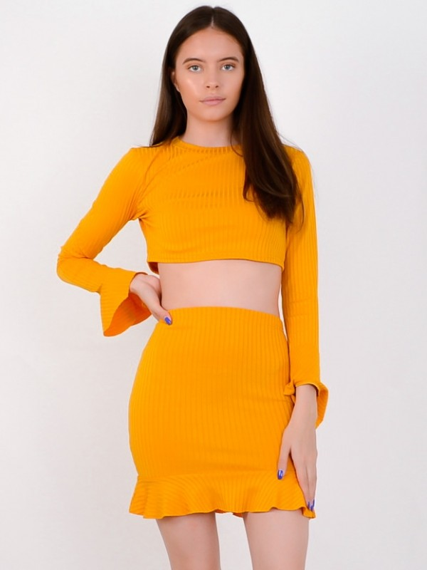 Ribbed Crop Top & Frill Skirt Co-ord