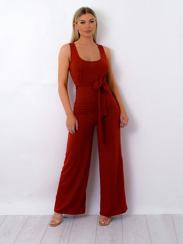 Zip Back Tie Knot Ribbed Jumpsuit