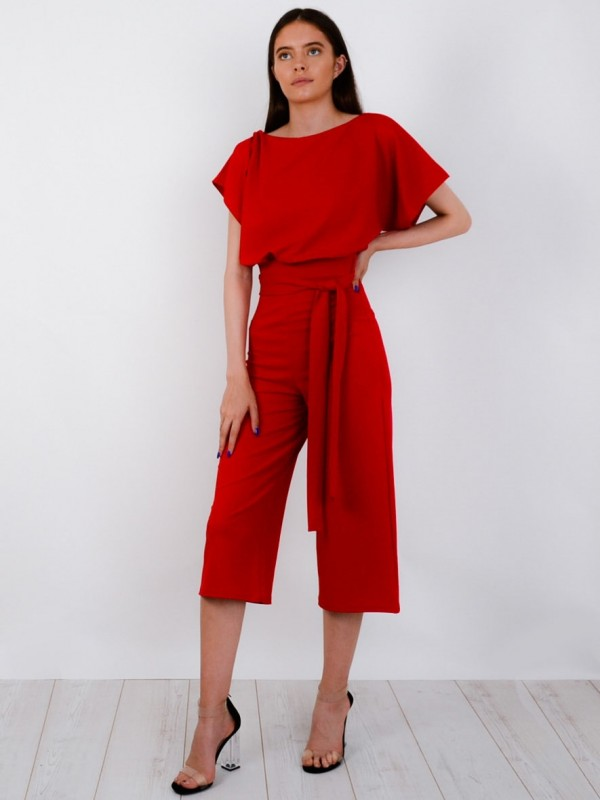 Balloon Waist Belted Culotte Jumpsuit