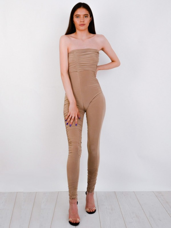 Slinky Ruched Bandeau Jumpsuit