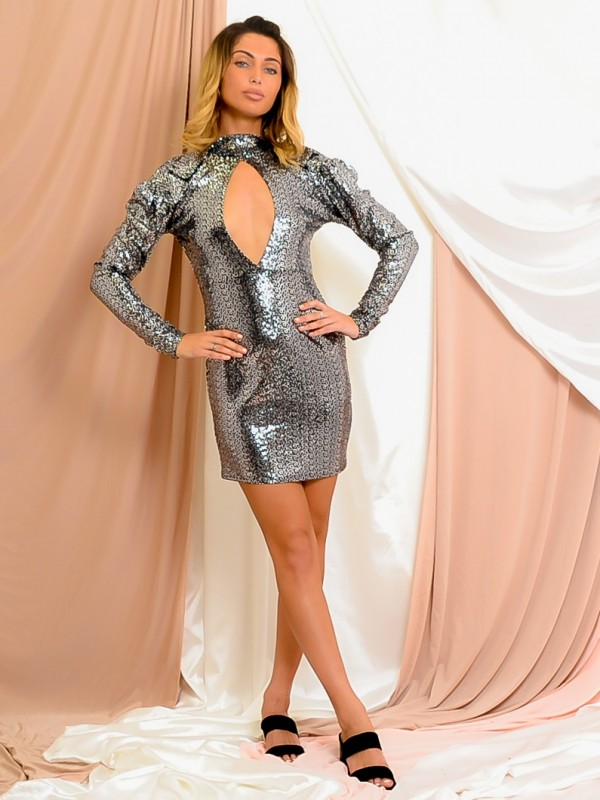 Keyhole Front Sequined Dress