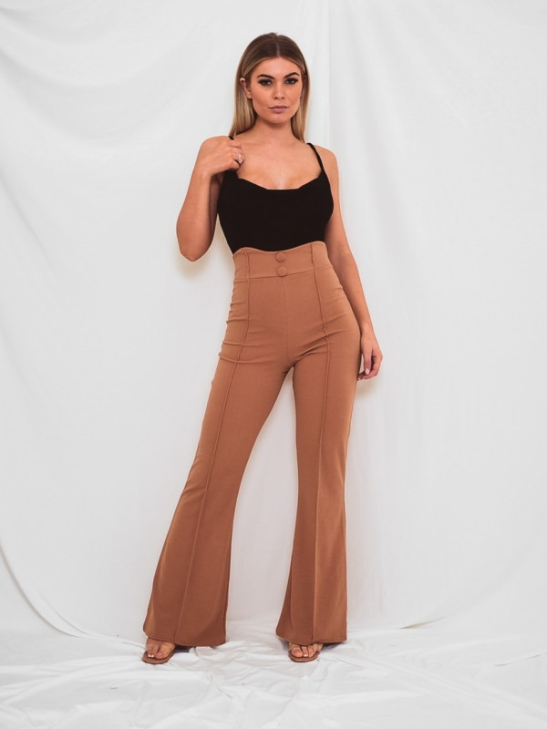 Button Front High Waist Trousers