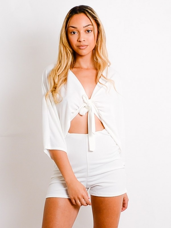 Tie Front Batwing Playsuit