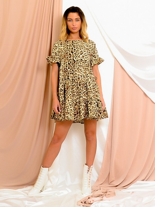 Leopard Print Frill Tiered Smock Dress