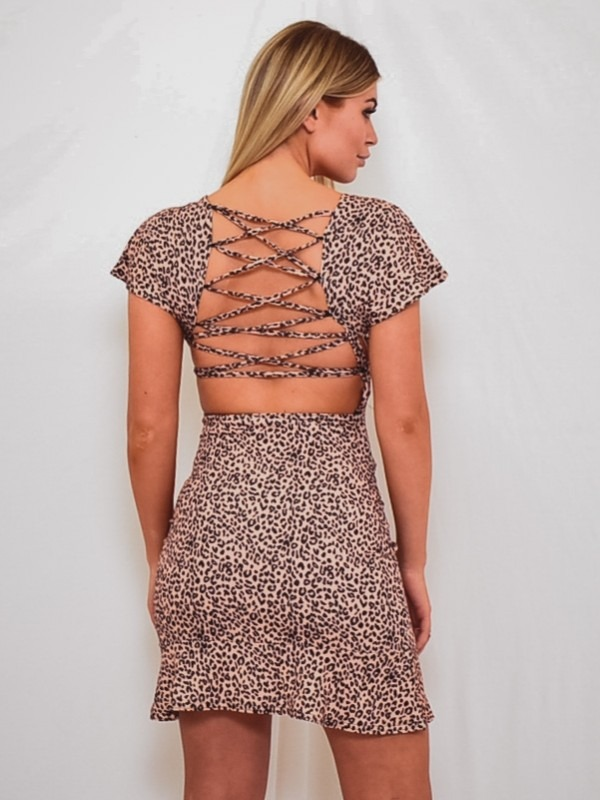Lace Back Leopard Print Dress