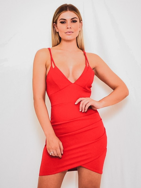 Double Strap Wrap Front Bodycon Dress