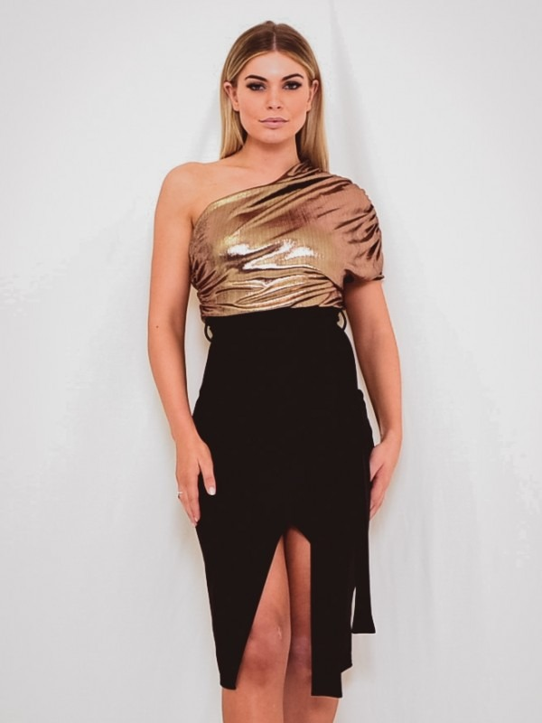Foil Detail One Shoulder Wrap Front Dress