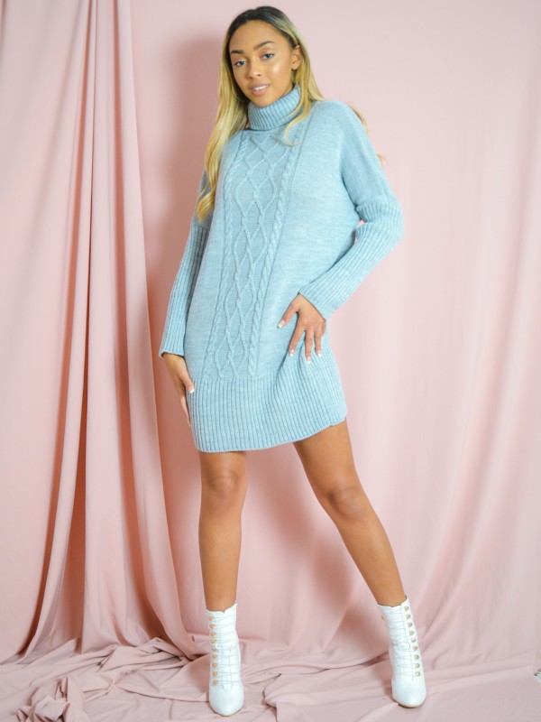 Cable Knit Panel Jumper Dress