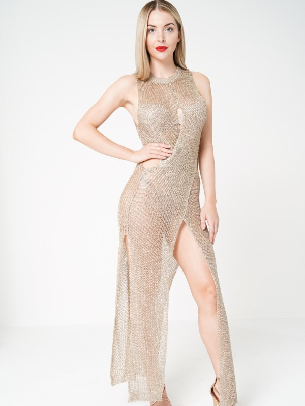 Wrap Front Knitted Metallic Maxi Dress