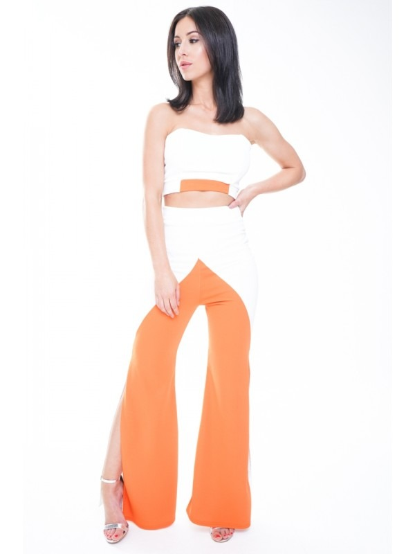 Contrast Colour Block Crop Top & Trouser Co-ord