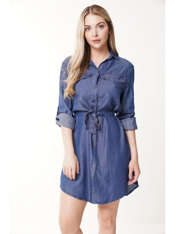Longline Belted Denim Shirt Dress
