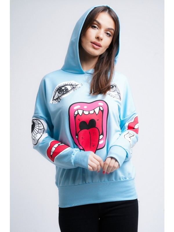 Hooded Monster Printed Sweatshirt Jumper
