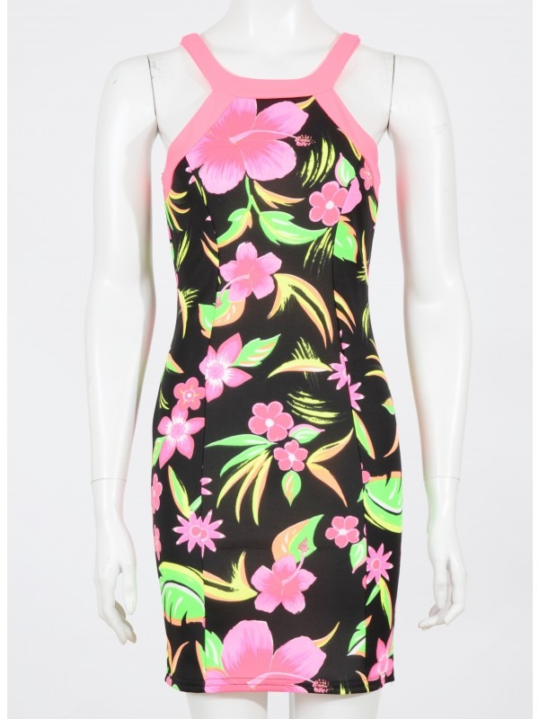 Celebrity Sam Inspired Neon Floral Cut Out Bodycon Dress