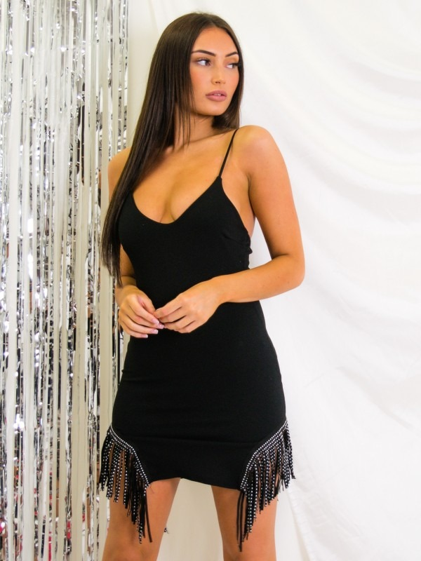 Studded Tassel Hem Cami Dress