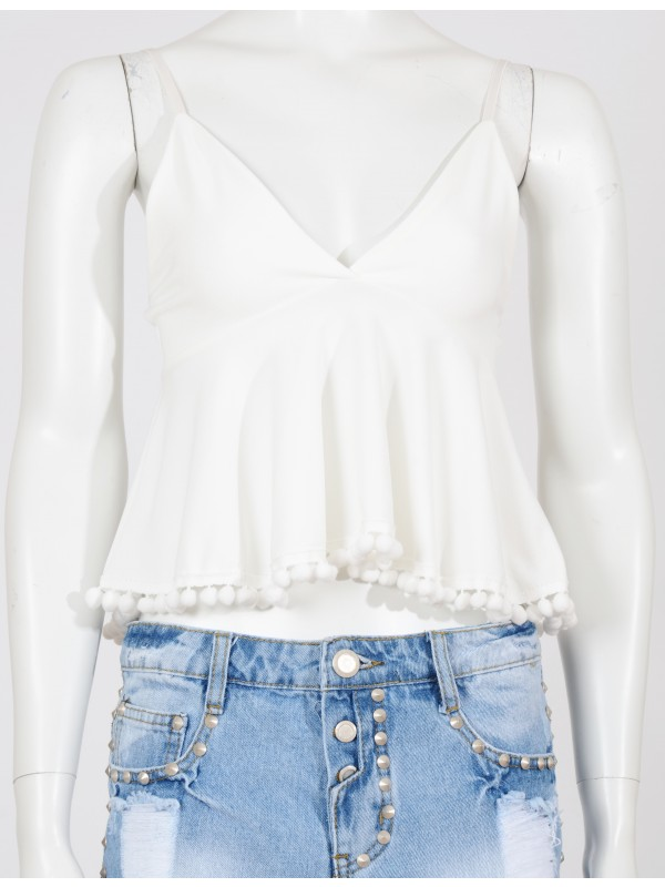 Pom Pom Tasseled Flare Crop Top