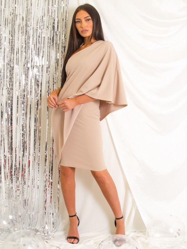 One Shoulder Wrap Over Draped Dress