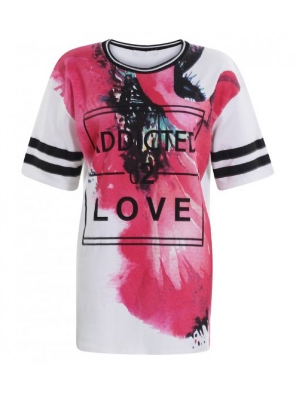 Oversized Love Print Baggy Tshirt