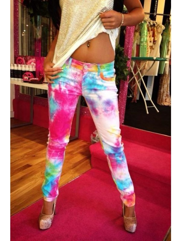 Tie Dye Splash Print Denim Jeans