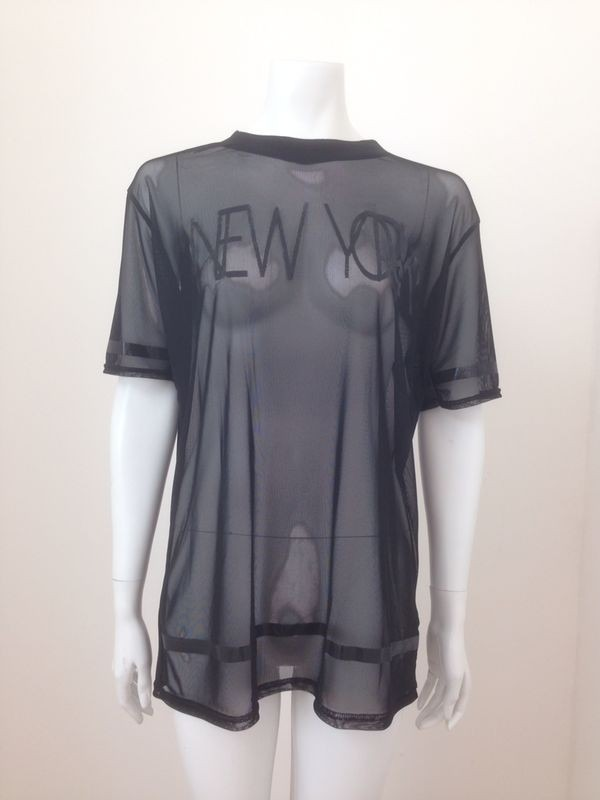 New York Print See Through Top