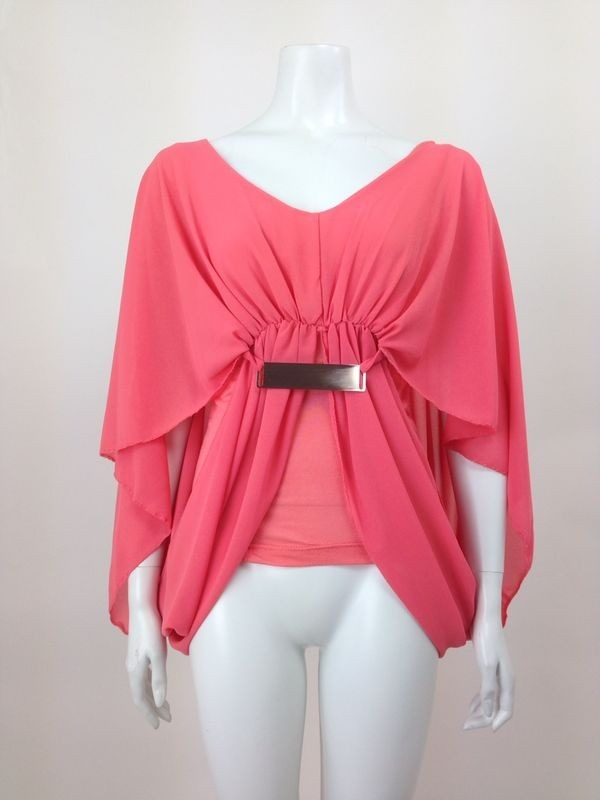 Butterfly Style Chiffon Buckle Baggy Top