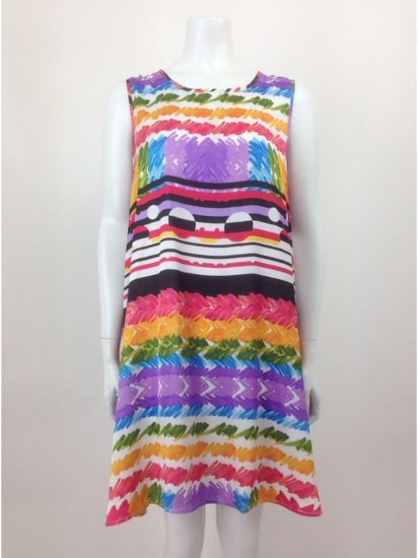 Colourful Printed Swing Dress