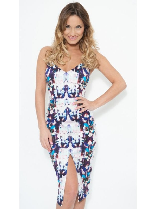 Celebrity Faiers Inspired Aztec Print Midi Dress