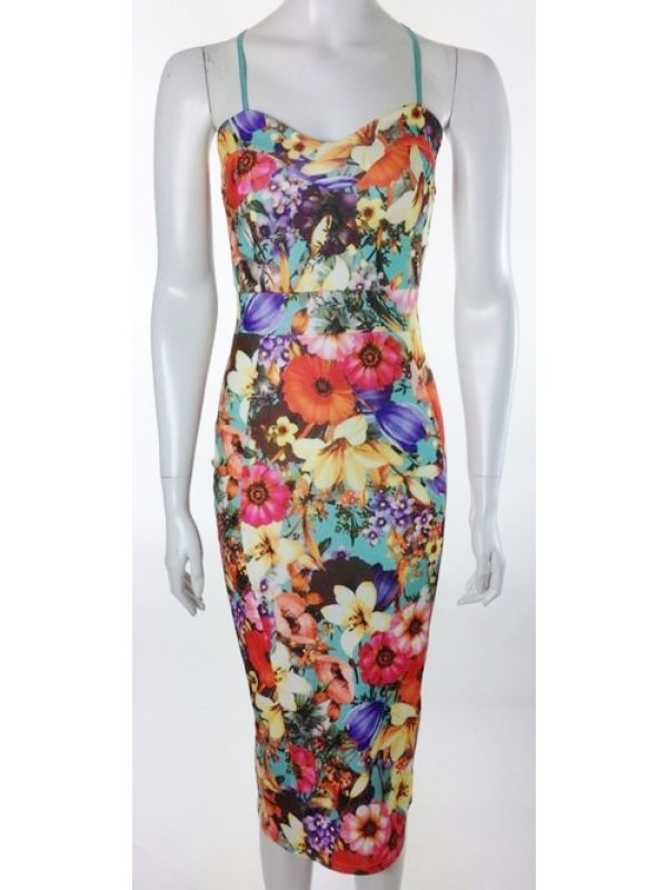 Floral Print Multi Colour Cami Midi Dress