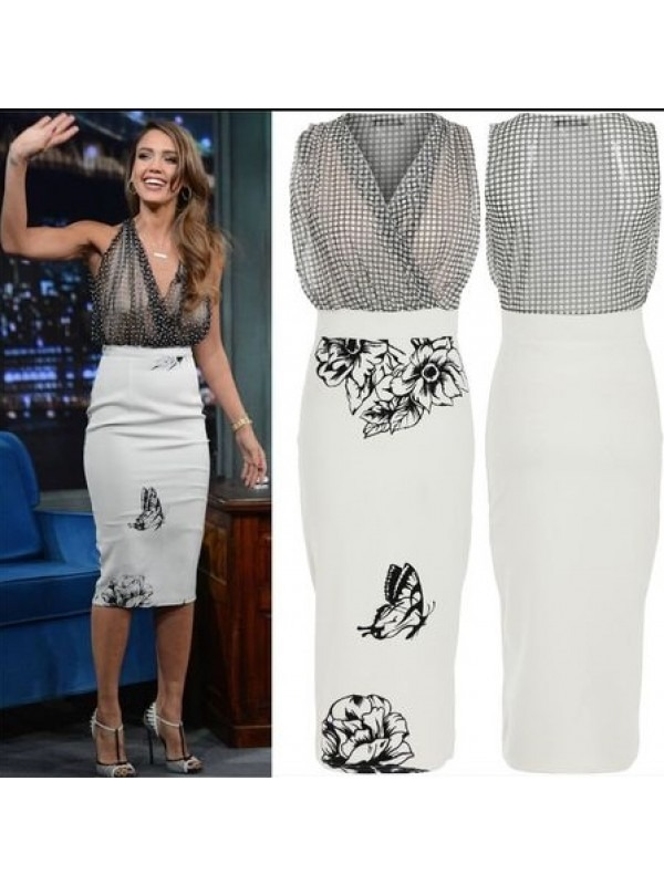Celebrity Chiffon Polka Dot Midi Dress