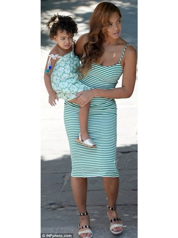 Celebrity Beyonce Inspired Stripe Midi Dress