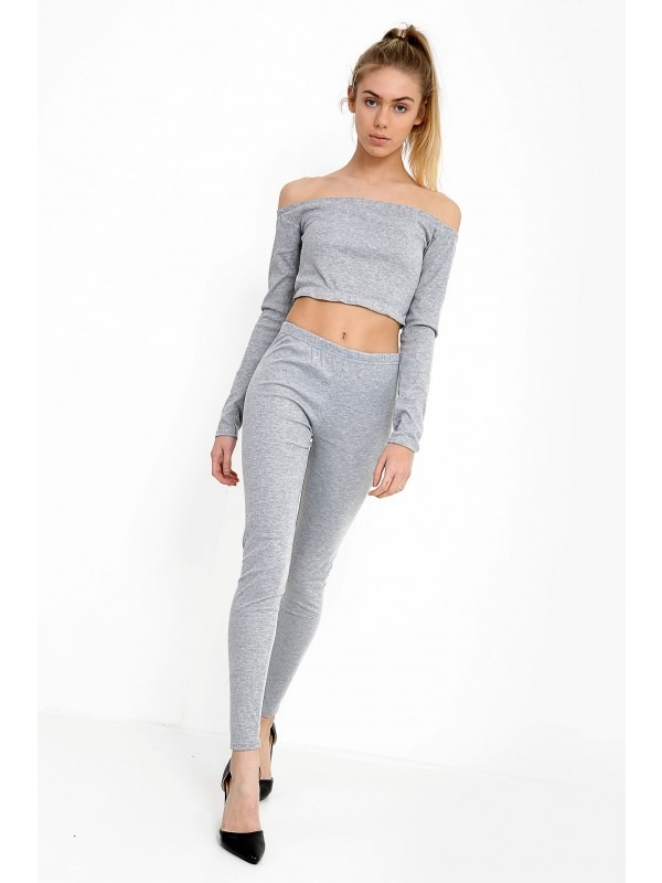 Ribbed Bardot Cropped Loungewear Set