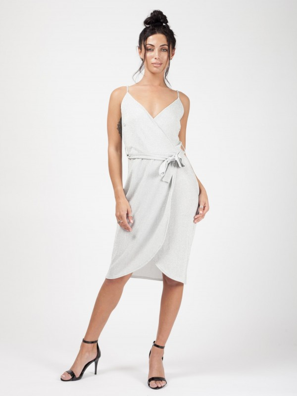 Wrap Front Belted Lurex Dress