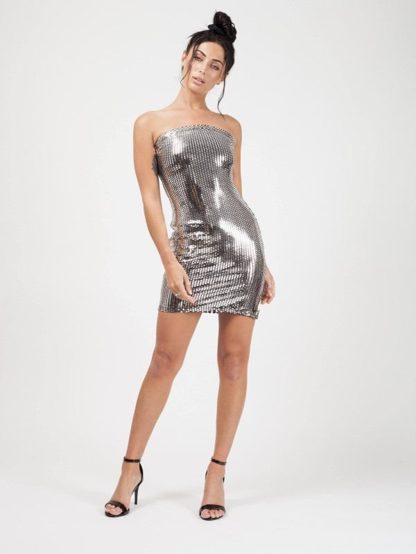 Sequin Bandeau Mini Dress