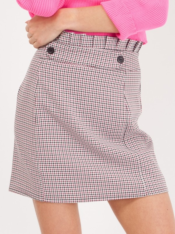 Gingham Check Paper Bag Waist Skirt