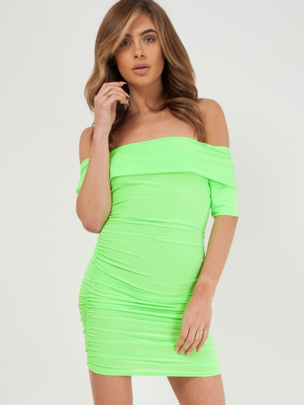 Slinky Ruched Bardot Dress