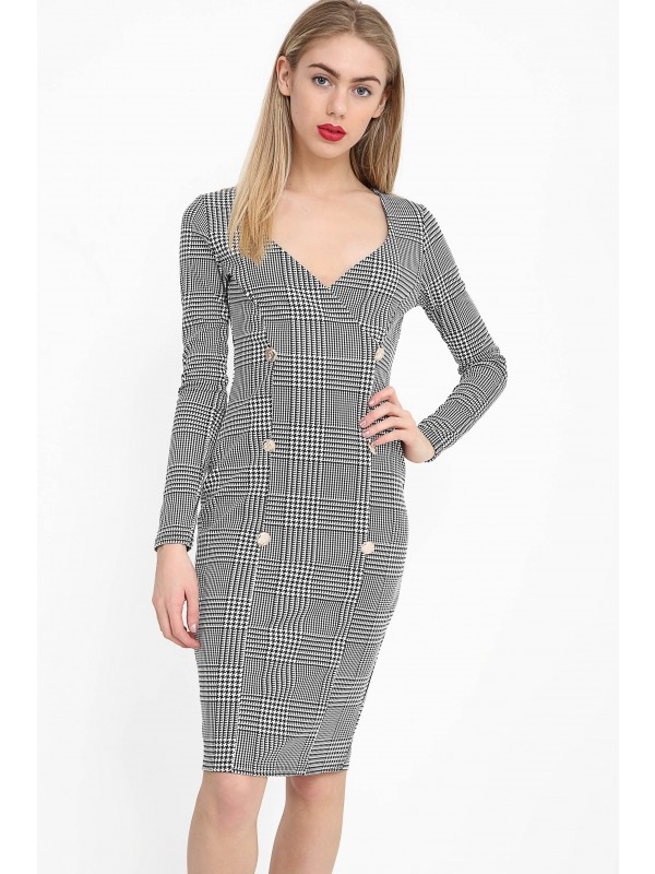 Hound-Tooth Button Detail Blazer Midi Dress