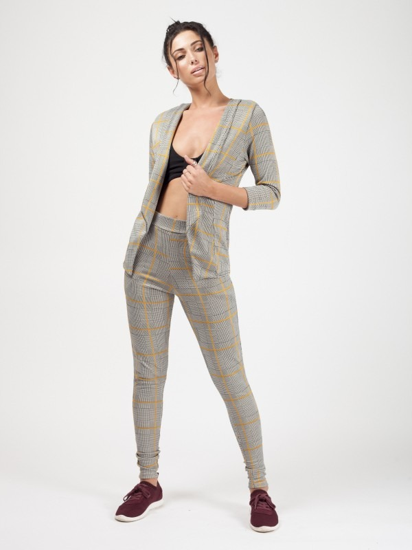 Mustard Multi Check Tailored Trousers