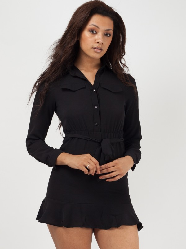 Frill Hem Belted Waist Shirt Dress