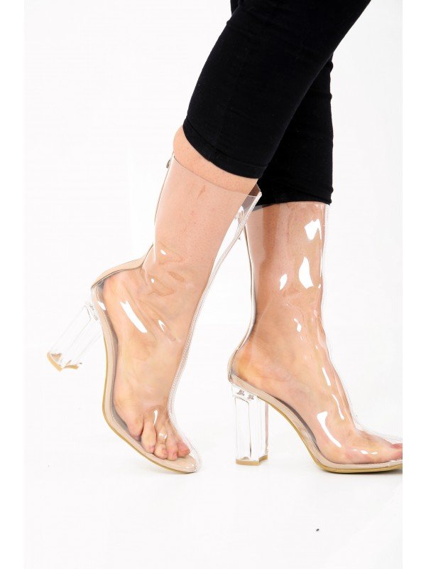 Perspex Chunky Heel Ankle Boots