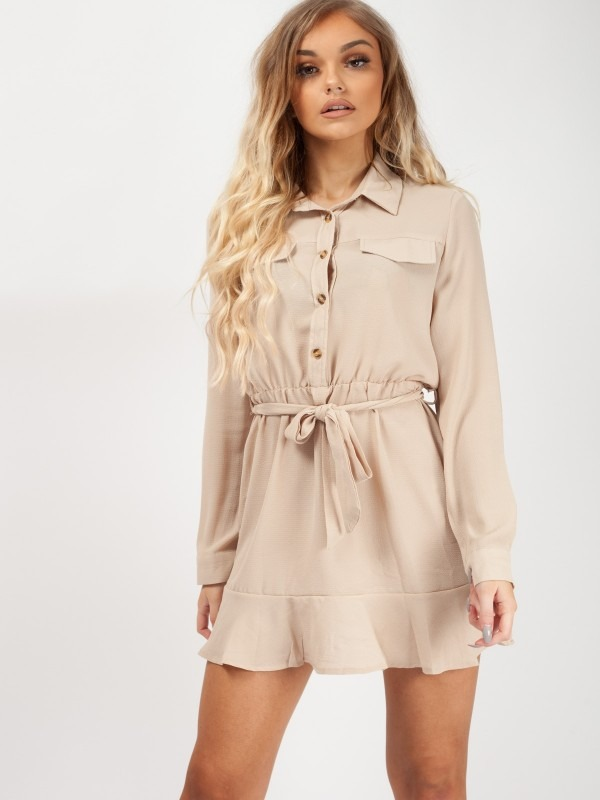 Frill Hem Tie Waist Shirt Dress