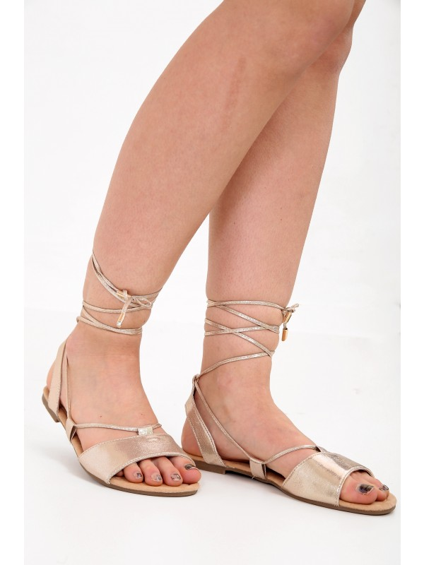 Shimmer Strappy Peep Toe Sandals